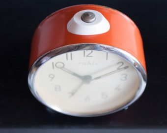 Small Orange Alarm Clock, German Mechanical Alarm Clock, Made in GDR, Manual Winding, Office Decor