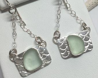 Sea Glass Earrings Sea Foam Green Genuine Hand Forged Sterling Silver Dangle