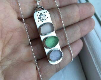 Sea Glass Trio Floral Stamped Necklace Mermaid Tears Sterling Chain