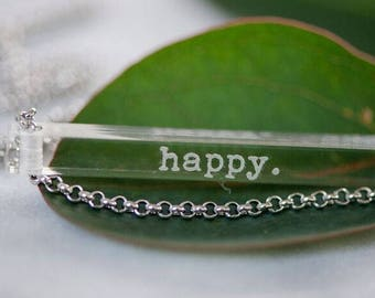 NEW happy. - clear bar necklace; stainless steel - waterproof - quote jewelry