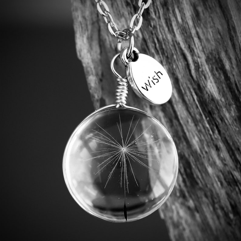 Dandelion Jewelry wish Jewellery pressed flower necklace image 0