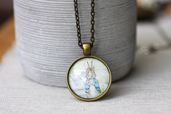 ab2d45849ed FREE SHIPPING Peter Rabbit Glass Pendant Necklace