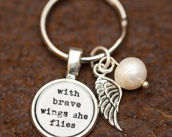 FREE SHIPPING - With Brave Wings She Flies - Quote Keyring Keychain - Silver Glitter - Quote Necklace