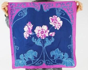 Blue scarf purple floral shawl boho vintage flowers