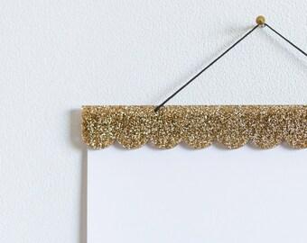 Gold Glitter Scallop Poster Hanger, Magnetic Print Hanger, Nursery Decor, Scalloped Edge Print Hanger, Acrylic Photo Frame