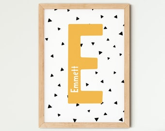 Personalised Initial Nursery Print, Name Print, Triangle Pattern Print, Scandi Kids Room Print, Kids Room Decor, Nursery Wall Art