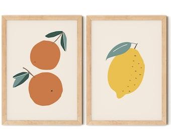 Oranges and Lemon Print Set, Nursery Wall Art, Scandi Kids Room Decor, Playroom Posters, Play Kitchen Prints, Fruit Prints