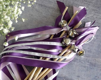 Flower Girl Wedding Wands - Purple & Silver Ribbon Wands - Jingle Bell Wands - Confetti Alternative - Wedding Streamers - Boho Wands