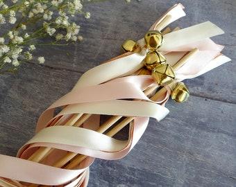 Wedding Wands - Rose Gold & Pink Ribbon Wands - Blush Wedding Decor - Flower Girl Wands - Jingle Bell Wands - Confetti Alternative - Boho