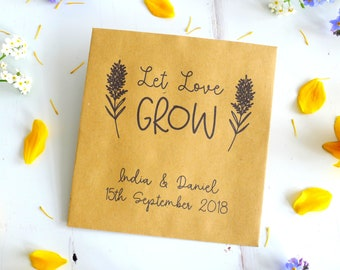 Flower Seed Envelopes - Eco Wedding Favours - Kraft Seed Packet - Rustic Wedding Favours - Let Love Grow - Personalised Favour Envelope