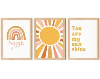 Set of 3 Personalised Nursery Prints, You are my Sunshine, Rainbow Wall Art, Positive Quote, Boho Kids Room, Girls Bedroom Prints