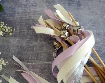 Wedding Wands - Lilac and Silver Ribbon Wands - Flower Girl Wands - Jingle Bell Wands - Confetti Alternative - Boho Wedding Streamers