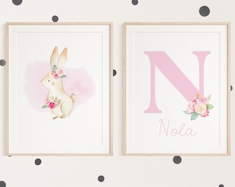Woodland Initial Print Set, Personalised Woodland Nursery Prints for Girls Nursery , Floral Girls Bedroom Decor, Baby Gift, Pink Wall Art