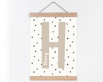 Personalised Initial Print, Crosses Pattern, Custom Letter Print, Scandi Kids Room Print, Personalised Art Print for Nursery, Boys Room