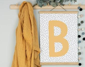 Personalised Nursery Print, Custom Initial Print, Scandi Kids Room Print, A3 Personalised Art Print for Nursery, New Baby Gift
