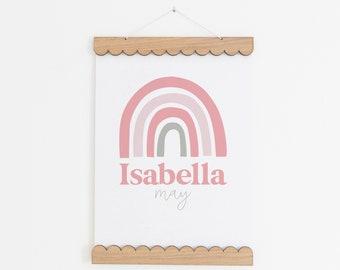 Personalised Rainbow Print, Rainbow Nursery Print, New Baby Gift, Girls Bedroom Decor, Custom Rainbow Wall Art, Pink Prints