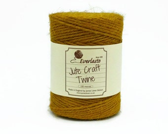 Mustard Yellow Jute Twine on the Spool - Everlasto Jute Craft Twine - 3mm Diameter - Mustard Twine - Yellow Twine