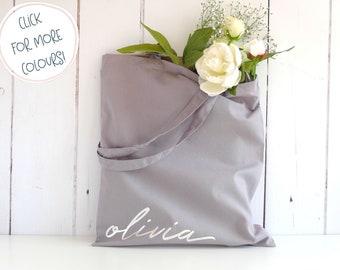Personalised Tote Bag - Bridesmaid Gift Bag - Bridal Party Tote Bag - Script Name Tote Bag - Wedding Tote Bag - Bridesmaid Proposal Gift