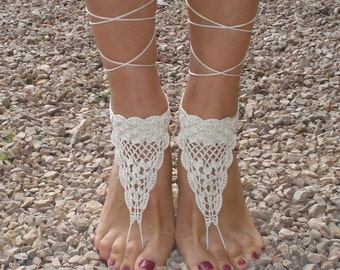 Barefoot Crochet sandals Footless sandles Ivory Barefoot Sandals Foot jewerly