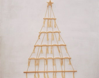 Macrame Scandinavian alternative Christmas Tree with Star Topper Wall hanging Natural Eco Ornament display decoration