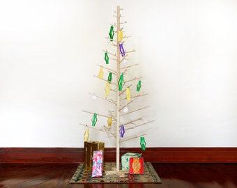 6 Foot Contemporary Modern Scandinavian Minimalist Wooden Dowel Christmas Tree / Alternative Solstice Tree / Pine Tree Décor ~ Handmade