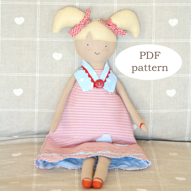 PDF Muster: Alice Puppe Nähen Muster Stoff Puppe Softie