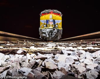 Train Photography, Night Photo, Color, Train Tracks Picture, Wall Art