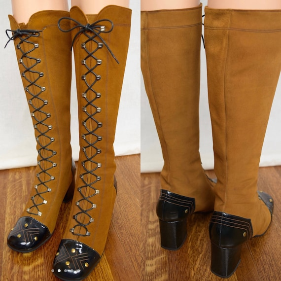Vintage 1960's Go Go Laced Boots. Size 7. Super co