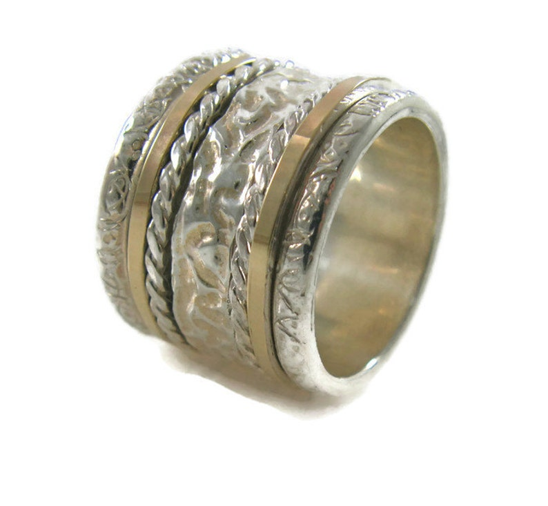 Wide silver ring Men ring Wide spinner ring Silver ring Textured ring Unisex spinner ring Silver gold spinner ring Gold spinner ring