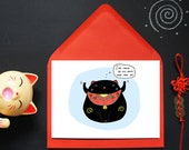 Good Luck Card - Funny - Lucky Cat - Maneki Neko - Talisman- Charm
