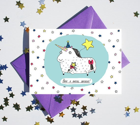 Happy Birthday Unicorn Greeting Card Magical