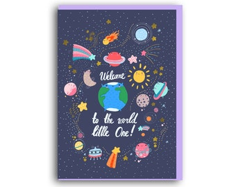 New Baby Card   A6 Greetings Card   New Arrival   Space   planets   Baby Boy Girl   Welcome to this world little one, Birth Card, Baby Card