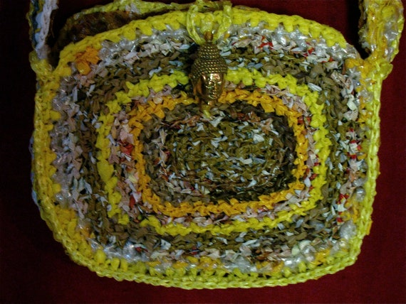 Recycled Buddha Tasche Gehäkelt Recycelte Plastiktüte Etsy