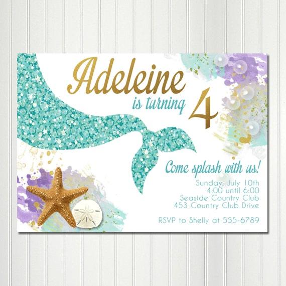 mermaid invitation mermaid birthday party under the sea etsy