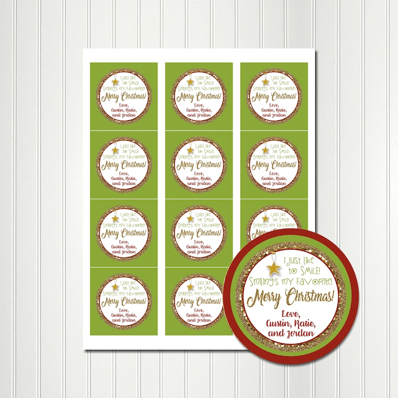 Christmas Tags Stickers,Favor Tag,Round Images,2.5 Inch Gift Tags,Personalized Tags,Tags,ELF SMILE