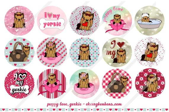 Puppy Of The Year Yorkie 1 Inch Circles Collage Sheet For Bottle