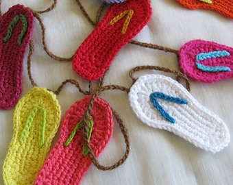 Colourful flip flop garland / crocheted flip flop bunting / Choice of colours and styles / Summer garland / Christmas garland