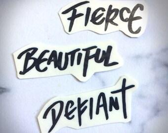 Defiant Beautiful Fierce Temporary Tattoo Script Calligraphy Bold Sharpie Text Black Simple Strong Brave Girls Women Bold Power Grafitti