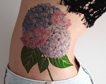 Blue Pink Hydrangea Large Temporary Flower Tattoo Floral Flowers Botanical Spring Bouquet Beautiful Side Thigh Back Statement Temp Tat