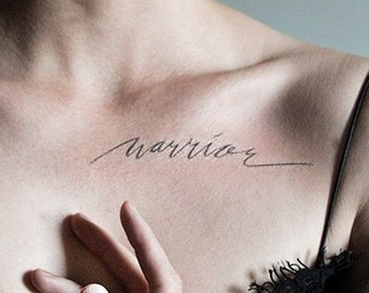 Warrior Large Temporary Tattoo Script Calligraphy Cursive Flowing Text Black Simple Minimal Hipster Original Brave Fighter Strong
