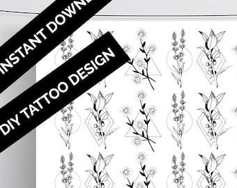Small Flower Tattoos Etsy