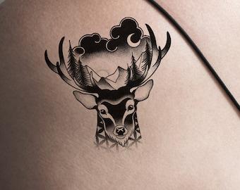 Deer Head Temporary Tattoos Dotwork Black White Antlers Nature Animal Geometric Japanese Pattern Trendy Hipster Forest Medium Size Arm Leg