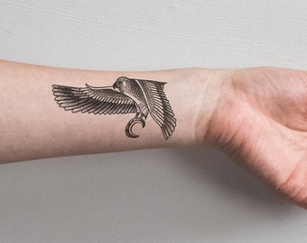 Egyptian Falcon Temporary Tattoo Bird Eagle Hawk Wings Faience Feather Nature Fierce Woman Badass Black White Minimal Wrist Waterproof