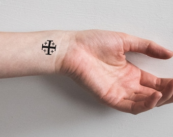Jerusalem Cross Dainty Temporary Tattoo Pilgrim Catholic Coptic Travel Holy Land Traditional Black Simple Christian Orthodox Israel