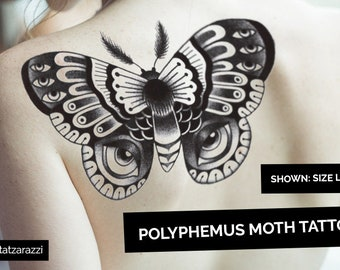 60dda984213c Moth Temporary Tattoos Temp Dotwork Dot Butterfly Bug Insect Large Huge  Traditional Nature Black White Intricate Luna Polyphemus
