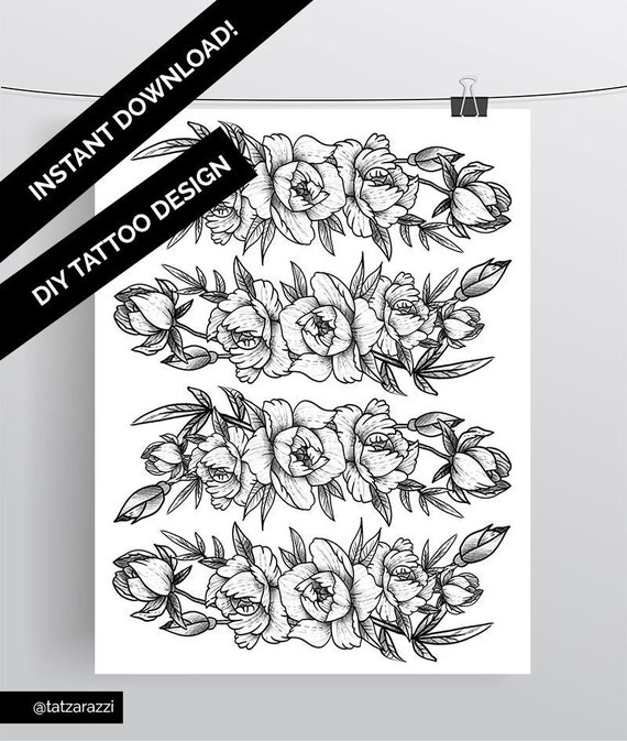 Instant Download Temporary Tattoo Peony Flower Design Floral Etsy