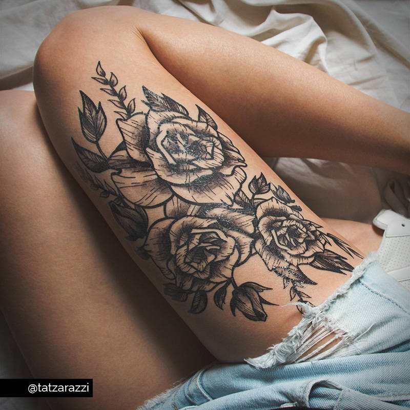 Bouquet Tattoo Tattoos: Roses Floral Huge Temporary Tattoo Flowers Bouquet Black