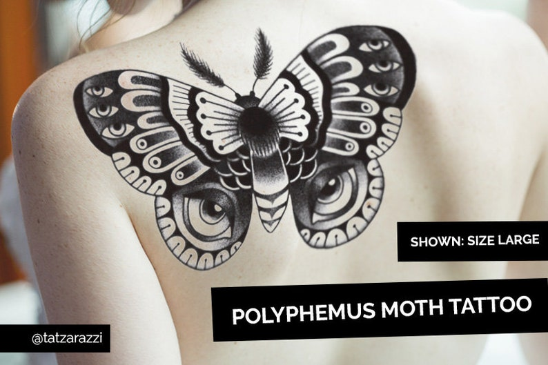 Moth Temporary Tattoos Temp Dotwork Dot Butterfly Bug Insect image 0