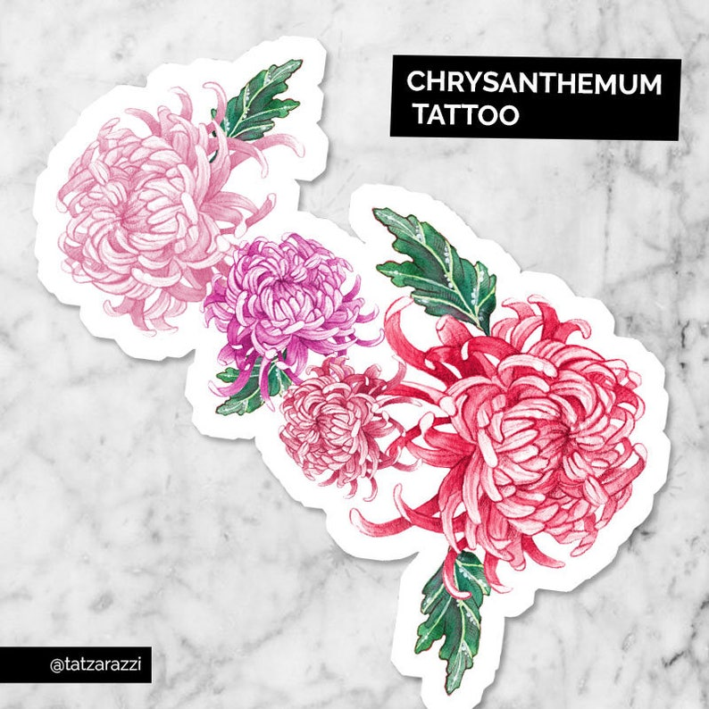 097380f48 Pink Red Chrysanthemum Kiku Floral Flowers Leaves Large   Etsy