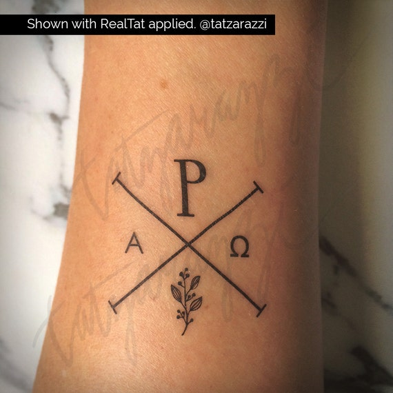 Chi Rho Temp Tattoo Temporary Tat Christian Symbol Hipster Etsy